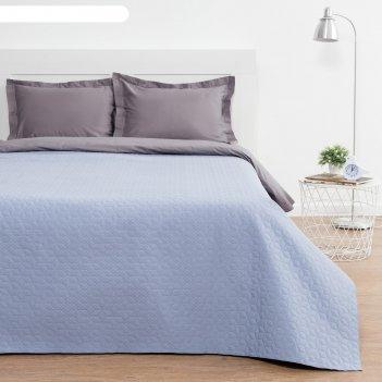 Покрывало этель евро «английский стиль», 200х210 см (±5см), цвет голубой