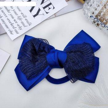 Резинка для волос бант школьница 13 см, фатин, синий