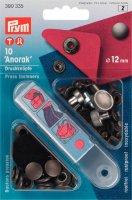 Непришивные кнопки, анорак (латунь), 12 мм, цв. старого железа, 10 шт