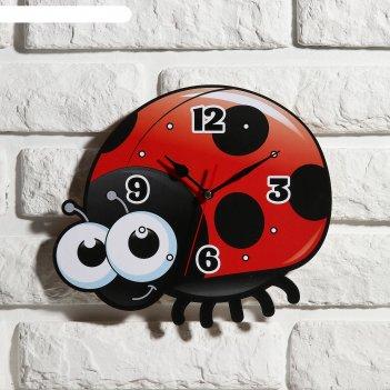 Часы настенные детские божья коровка, 24 см
