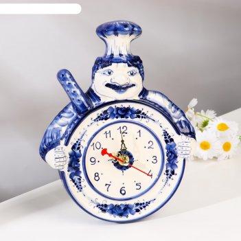 Часы настенные повар, гжель, фарфор, 24х19 см