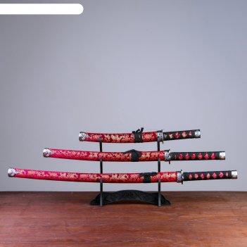 Катаны сувенирные 3в1 на подставке, красные ножны, узоры с драконом