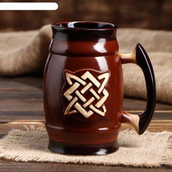 Пивной бокал славянский оберег сварог, цвет темно-коричневый, 0.6 л