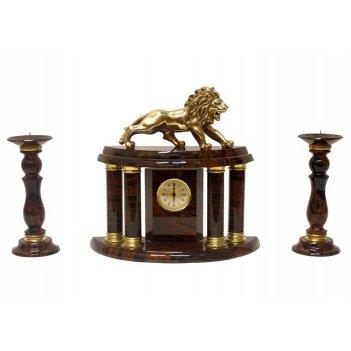 Часы, два подсвечника (обсидиан) 300х140х180 арт. ч-006