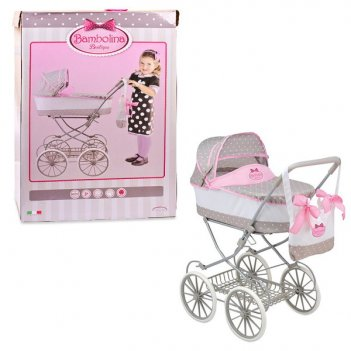 Большая классическая коляска для куклы с сумкой, bambolina boutique