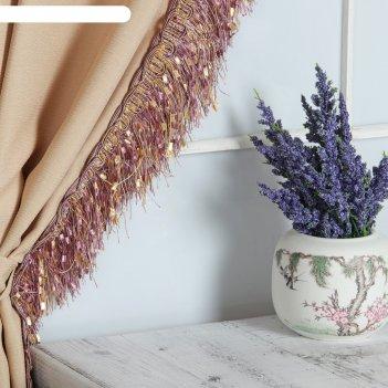 Тесьма «бахрома», 10 см, 12 ± 1 м, с ажуром, цвет сиреневый