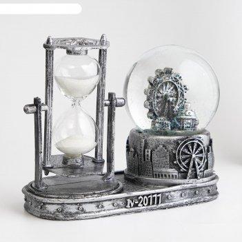 Часы песочные лондонское колесо обозрения, музыкальные с подсветкой, 16х8х