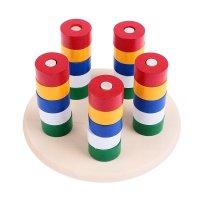 Пирамидка логическая цвет и счёт, деревянная