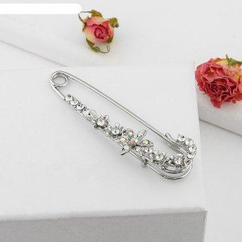 Булавка цветок россыпь цветов, цвет серебро