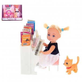 Кукла малышка «милена» с пианино со звуковым эффектом, собачкой и аксессуа