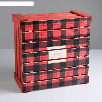 Ящик деревянный happy new year, 30 x 30 x 15 см
