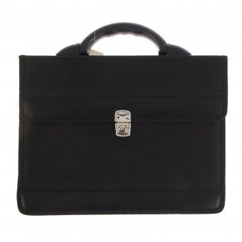 Портфель деловой «приморск», 350 х 260 х 10 мм, ткань, чёрный