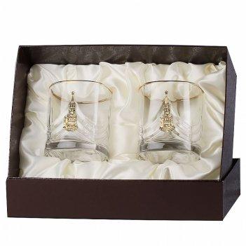 Набор бокалов для виски  кремль (латунь) 2шт. в футляре пейсли