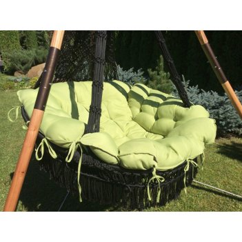 Подвесное кресло качели cartagena (черный) + каркас майя (дерево)