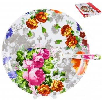 Набор для торта флора «цветение» 27 см, 2 предмета
