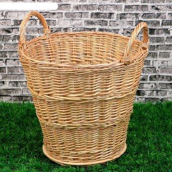 Корзина «садовод», дно фанера:20x20, верх: 30x30, h=35/45 см, ручное плете