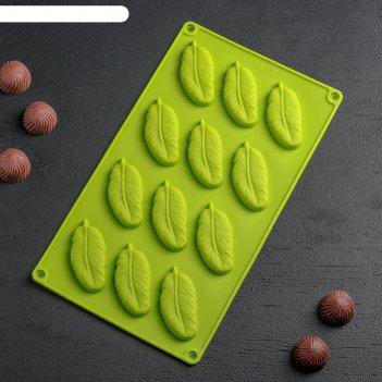 Форма для льда и шоколада «декор. перо», 12 ячеек, 29x17 см, цвет микс