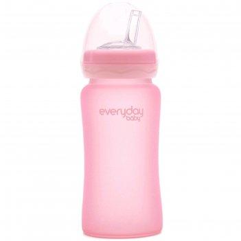 Бутылочка-поильник для кормления everyday baby, с трубочкой, цвет светло-р