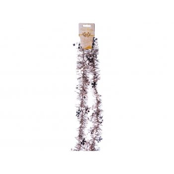 Декоративное изделие мишура снежинки 2 м цвет ша...