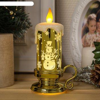 Фигура световая свеча снеговик, 15х7х9 см, от батареек 3*ag01, пламя морга
