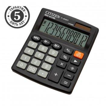 Калькулятор настольный 12-разр, 102*124*25мм, 2-е питание, черный sdc-812n