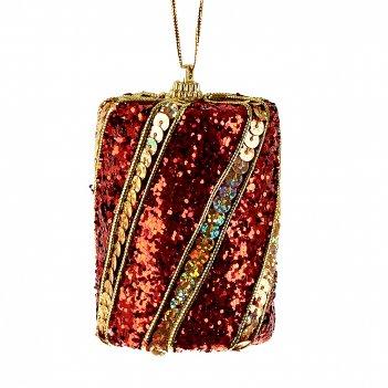 Украшение новогоднее (подвесное) шотландка/подарок 6*6*8см. (полимеры) (уп