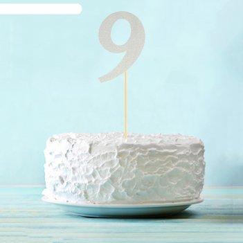 Топпер в торт 9 цвет серебро, набор 6 штук