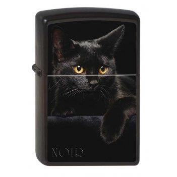 Зажигалка zippo чёрная кошка, латунь с покрытием black matte, чёрная, мато