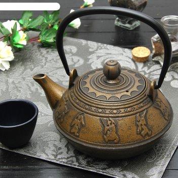 Чайник с ситом 600 мл виктори. золото, цвет черный