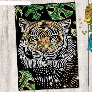 Аппликация пайетками тигр с клеевым слоем + 6 цветов пайеток