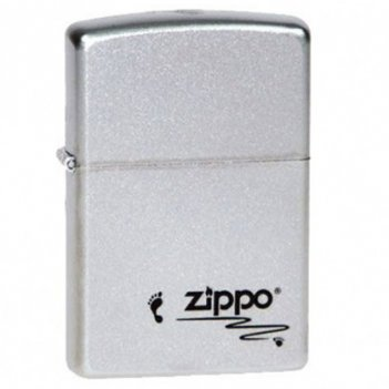 Зажигалка zippo footprints satin chrome