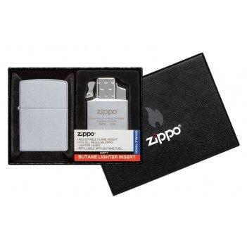 Набор zippo: зажигалка 205 с покрытием satin chrome™ и газовый вставной бл