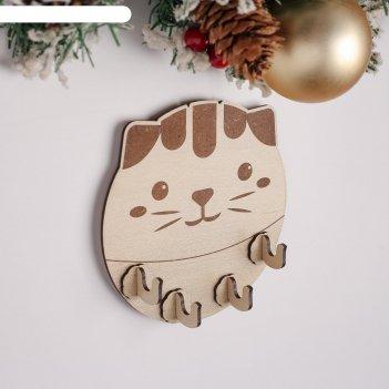 Ключница (4) толстый кот, 14х14х0,3 см