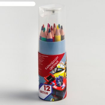 Карандаши цветные с точилкой в тубусе мини, 12 цветов, transformers