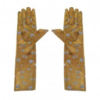 Перчатки карнавальные сердечки и бантики цвета микс