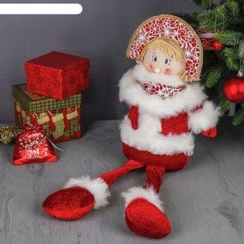 Мягкая игрушка снегурочка ярко-красная
