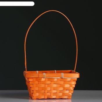 Корзина плетёная, бамбук, прямоугольная, оранжевая