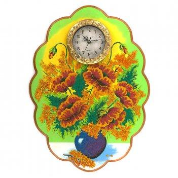 Часы с картиной маки 48х66 см
