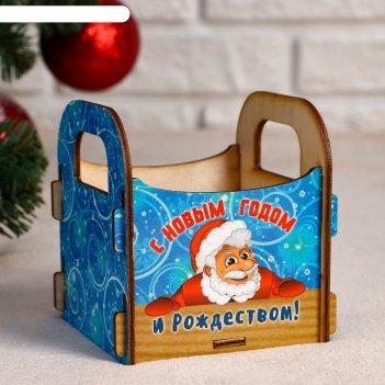 Кашпо деревянное с новым годом и рождеством! санта, 10x10.5x11 см
