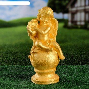 Садовая фигура ангел на шаре, золото, 34 см