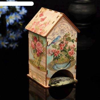 Чайный домик букет с уф-печатью, 8,5х9,5х16см