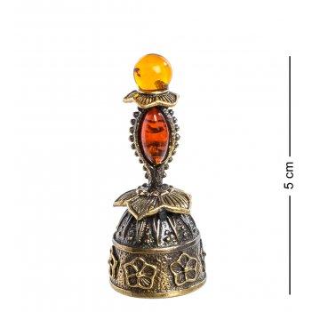 Am-645 фигурка колокольчик-цветок (латунь, янтарь)