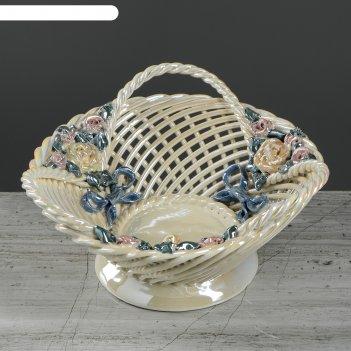 Конфетница плетенка круглая, с ручкой и лепкой