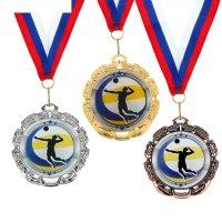 Медаль тематическая 045 волейбол диам 6,5 см цвет сер