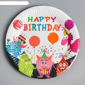 Тарелка бумажная с днём рождения монстры, набор 6 шт