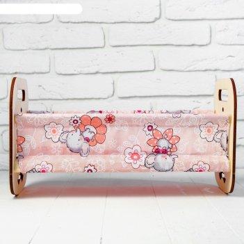 Кроватка деревянная для кукол катюша, 44 x 24 x 24 см, с постельным бельём