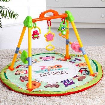 Развивающий коврик с игровой стойкой «зоо» с музыкальной игрушкой