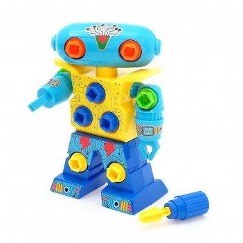 Конструктор винтовой робот, с отвёрткой, микс