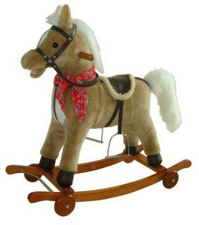 Лошадка-качалка на колесах 78 см, мелодия, звук галоп., открыв. рот., маше