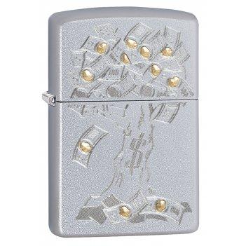 Зажигалка zippo money tree design с покрытием satin chrome, латунь/сталь,